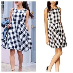 Maison Jules Gingham Fit and Flare Dress Size M